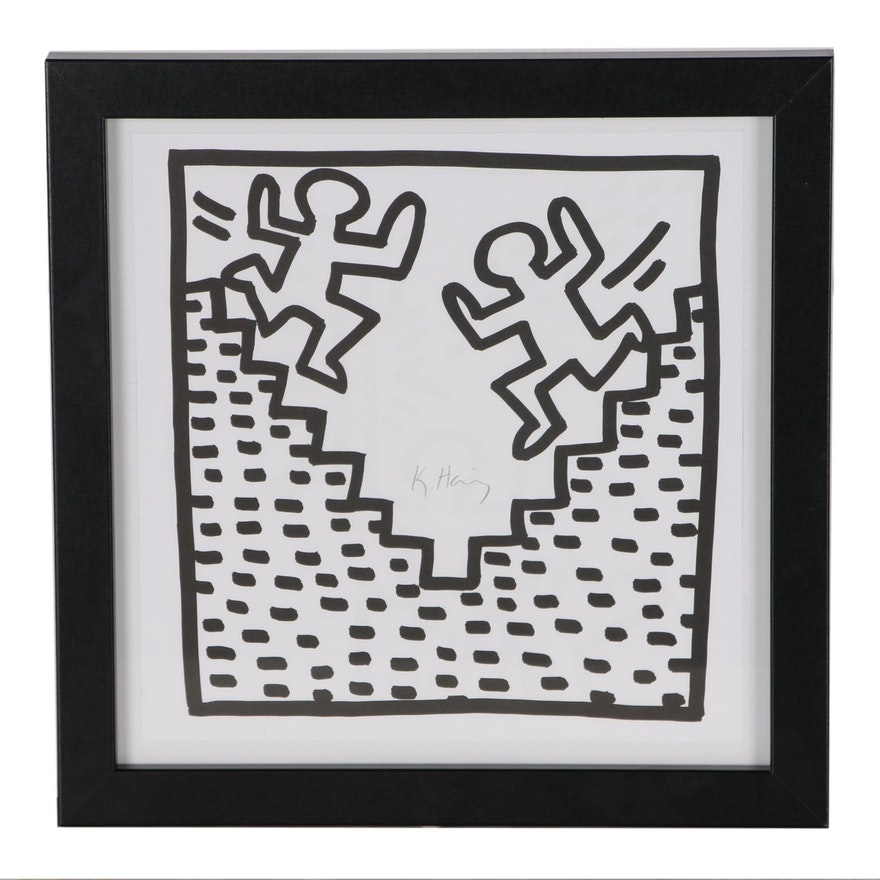 """Offset Lithograph after Keith Haring """"Stairs"""""""