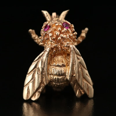 14K Yellow Gold Ruby Bumblebee Brooch