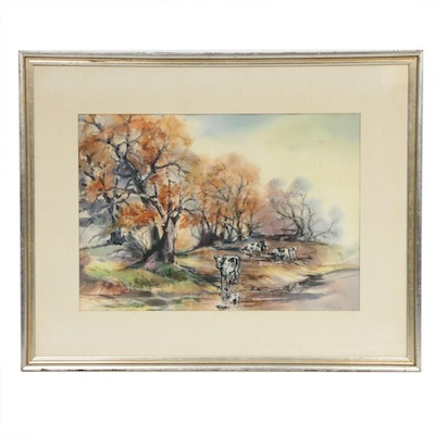 Mike Simpson Landscape with Cows Watercolor Painting