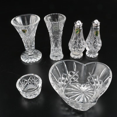 "Waterford Crystal Vases and Tableware Including ""Sweetheart"" Candy Bowl"
