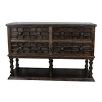 Wooden Buffet with Raised Panels and Nailhead Details