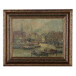 Harbor Scene Oil Painting, Early-Mid 20th Century