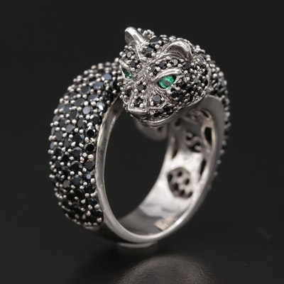 Sonia Bitton Sterling Silver Pavé Cubic Zirconia Feline Ring