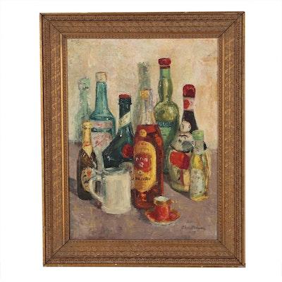 Helen Christensen Still Life Oil Painting, 1958
