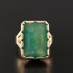 Vintage 14K Yellow Gold Quench Crackled Quartz Ring