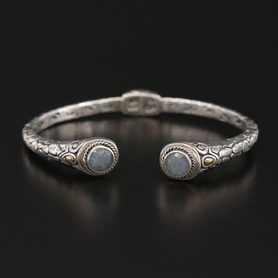 Bali Style Sterling Silver Labradorite Cuff Bracelet With 18K Gold Accents