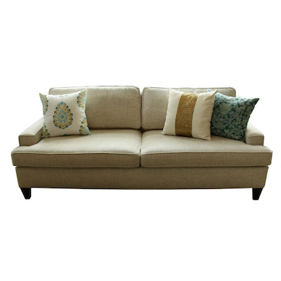 Rowe Furniture Woven Upholstered Sofa and Decorative Pillows