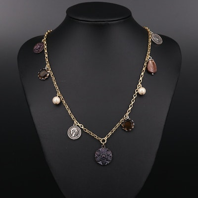 Carolee Mother of Pearl, Pearl and Glass Necklace