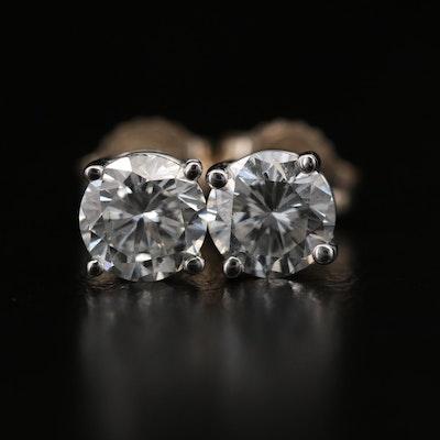 14K Yellow Gold 1.30 CTW Diamond Stud Earrings