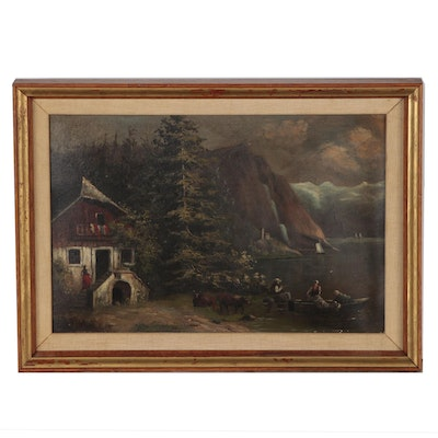 Continental European Landscape Oil Painting, Late 19th to Early 20th Century