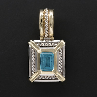 14K White and Yellow Gold Blue Topaz Pendant