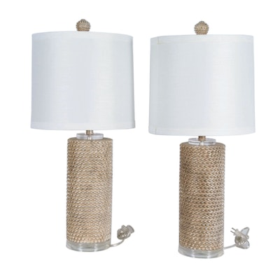 Beaded Resin Table Lamps in Satin Gold-Tone Finish