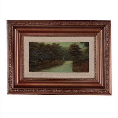M. Matthewson English Landscape Oil Painting, 1906