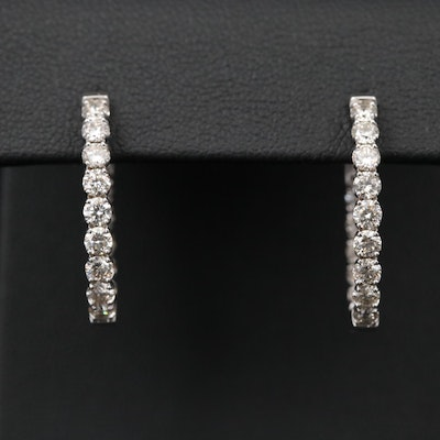 14K White Gold 1.85 CTW Diamond Inside-Out Hoop Earrings