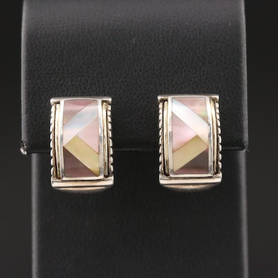 Asch Grossbardt Sterling Silver Mother of Pearl Earrings with 18K Accents