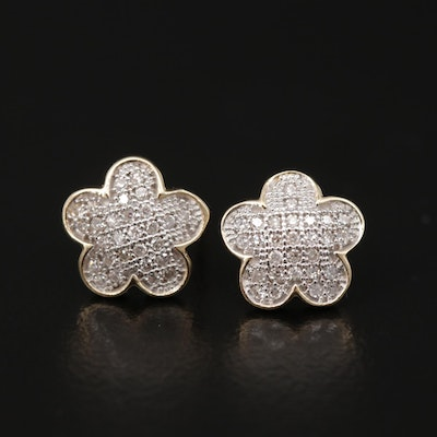 14K Yellow Gold Diamond Floral Motif Earrings