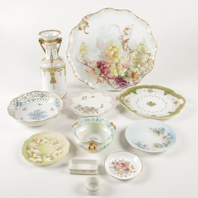Hand-Painted Porcelain Tableware Featuring Jean Pouyat Limoges Platter