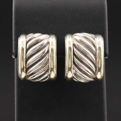 "David Yurman ""Cable Classic"" Sterling Earrings With 14K Yellow Gold Accents"
