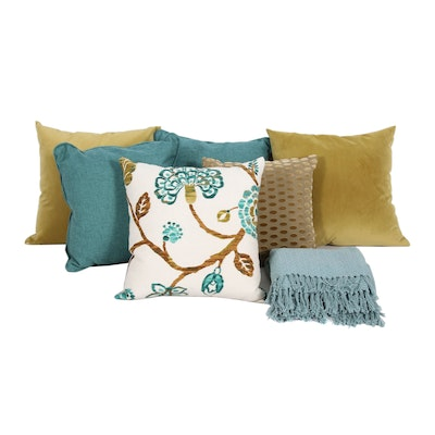 Decorative Pillows and Surya Cotton Throw Blanket