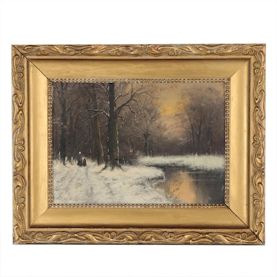 Winter Landscape with Figures Oil Painting, Early 20th Century