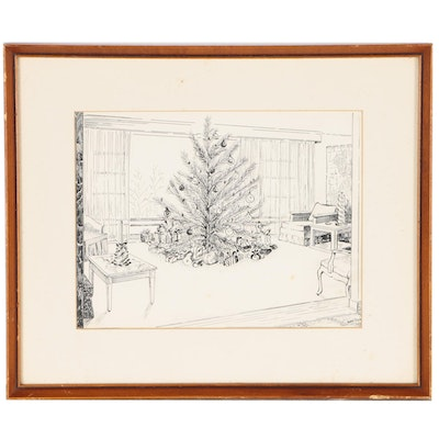 Ken Ozier Pen and Ink Holiday Interior Drawing, circa 1958