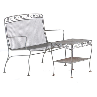 Iron and Mesh Patio Settee with Table, Mid to Late 20th Century