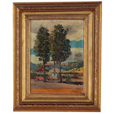 Edna Tuttle Landscape Oil Painting, Early 20th Century