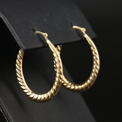 14K Yellow Gold Elongated Hoop Earrings