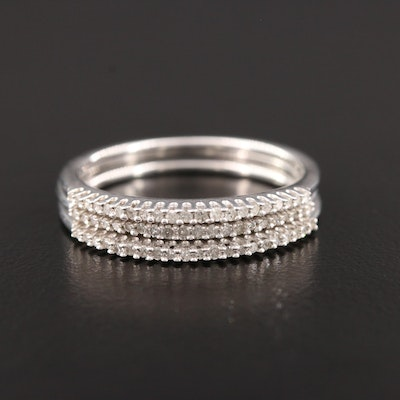 Sterling Silver Diamond Stacking Rings Set
