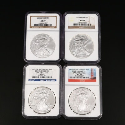 Four NGC Graded $1 U.S. Silver Eagles Including 2008, 2009, 2011-S, and 2012-S