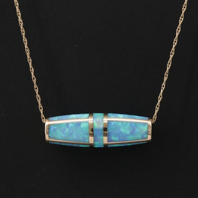 10K Yellow Gold Opal Pendant Necklace
