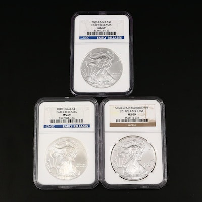 Three NGC Graded $1 U.S. Silver Eagles Including 2008, 2010, 2011-S