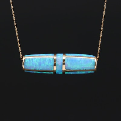 10K Yellow Gold Opal Inlay Pendant Necklace