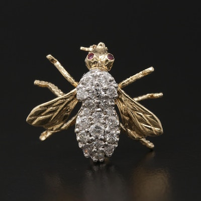 14K Yellow Gold Pavé Diamond and Ruby Insect Brooch