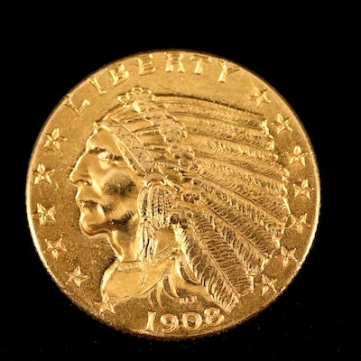 1908 Indian Head $2 1/2 Gold Coin