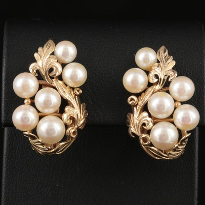 14K Yellow Gold Pearl Scroll Motif Earrings
