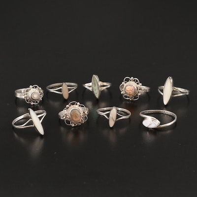 Sterling Silver Ring Selection Featuring Abalone, Mother of Pearl, and Glass