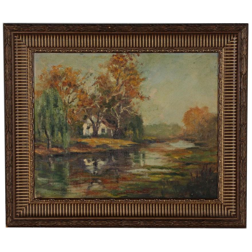 "Edgar Malin Craven Oil Painting ""Penna Landscape"", 1945"