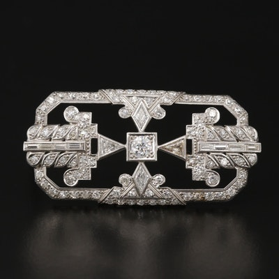 Art Deco Platinum 2.71 CTW Diamond Brooch