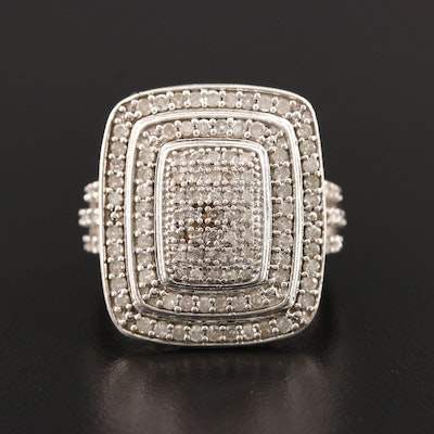 Sterling Silver Pavé Diamond Ring