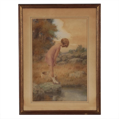 William A. McCullough Figural Watercolor Painting, Early 20th Century