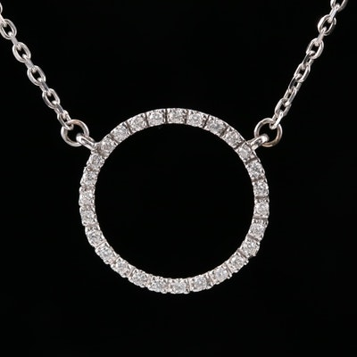 18K Diamond Lined Circle Pendant Attached to 14K Cable Link Necklace