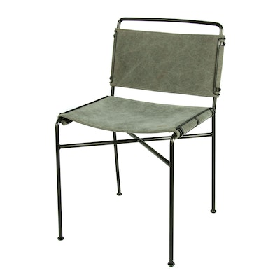 Wharton Metal Chair with Stretched Fabric Seat, Contemporary