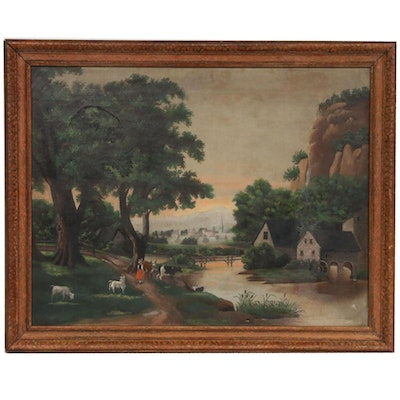 Pastoral Landscape Oil Painting, 19th Century