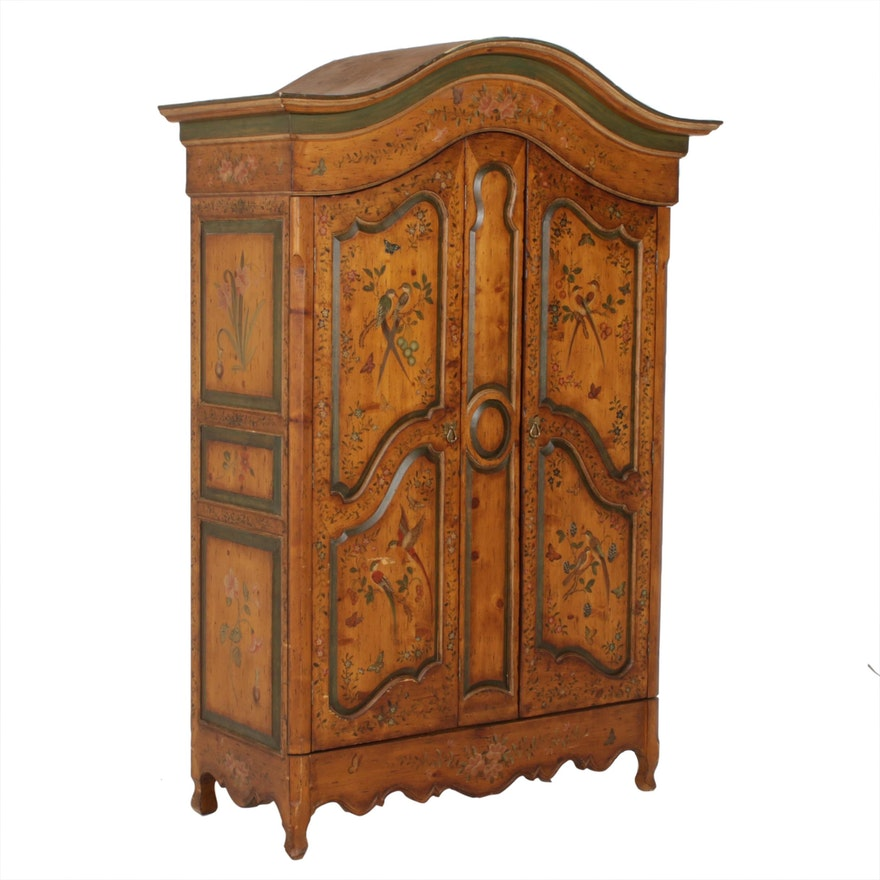 French Provincial Style Hand-Painted Pine Armoire, 20th Century