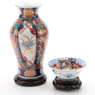 Chinese Imari Porcelain Ginger Jar or Vase with Bowl