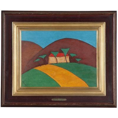 "Corrado Cicognani Abstract Landscape Oil Painting ""La Danza"""