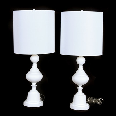 Modern White Table Lamps with Fabric Drum Shades