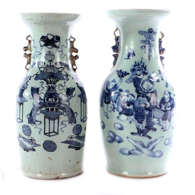 Chinese Blue and White on Celadon Ceramic Baluster Vases, Late 19th/Early 20th C