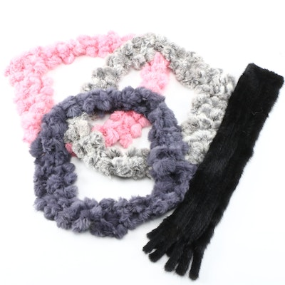 Knitted Mink Fur and Dyed Rabbit Fur Pom Pom Infinity Scarves